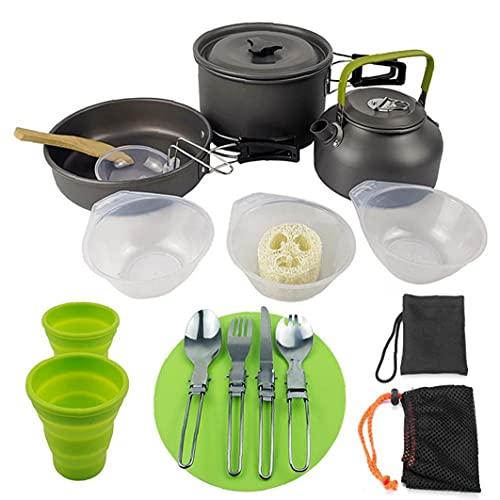 YepYes Utensilios De Cocina De Camping Hikking Pot Kit De Picnic Aire Libre Utensilios De Cocina Set para Mochilero Trekking