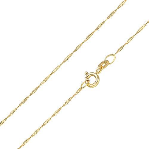 MATERIA Halskette 585 Gold Kette Frauen Mädchen Singapurkette 45 50cm diamantiert Made in Germany #K87, Länge Halskette:45 cm