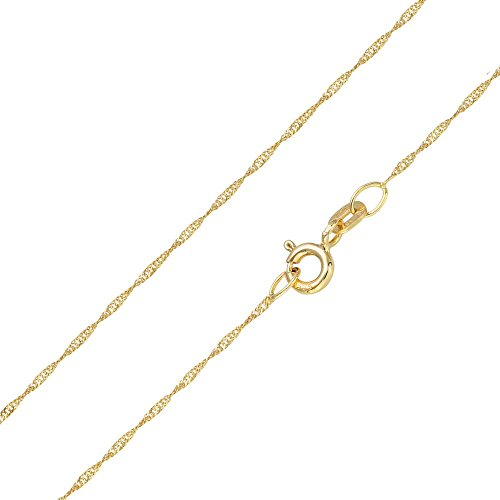 MATERIA Halskette 585 Gold Kette Frauen Mädchen Singapurkette 45 50cm diamantiert Made in Germany #K87, Länge Halskette:50 cm