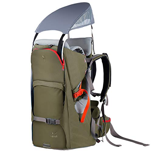 WIPHA Baby Backpack Carrier, Ergonomic Child Carrier Hiking with Sun Canopy, Safe Toddler Hiking Backpack Carrier with Large Storage Space&Insulated Pocket, Adjustable Padded Child Seat, Army Green