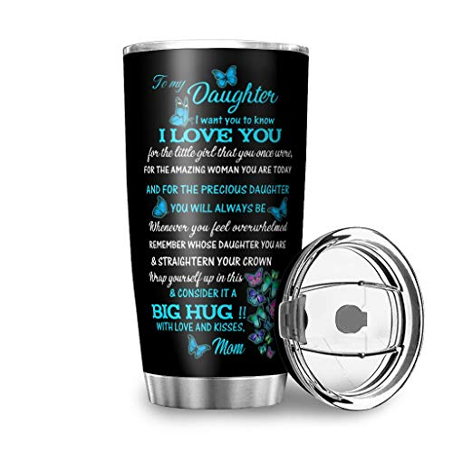 WellWellWell To My Daughter Blue Mug with Splashproof Lid Double Walled Stainless Steel Travel Mug 3D Pattern Drinking Cup 100% Tight Insulated Cup Keeps Hot and Cold for Office White 600ml