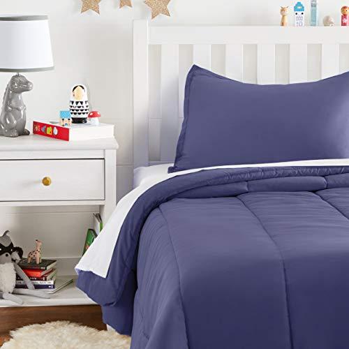 AmazonBasics Juego de edredón, microfibra suave y fácil de lavar, infantil, individual, azul crepuscular