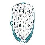 KAKIBLIN - Tumbona para bebé, nido de bebé, portátil, 100% algodón suave, cuna transpirable para recién nacido, cama para dormir, siesta y viajes (0-12 meses) Árbol verde