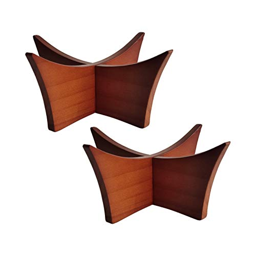 LuxRound Ball Stand Ball Display Rack Stand Holder for Football, Basketball, Volleyball, Soccer, Made of Solid Wood, 2pcs for Trophy Autograph