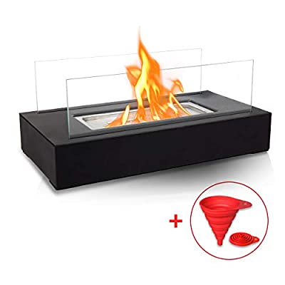 BRIAN & DANY Ventless Tabletop Portable Fire Bowl Pot Bio Ethanol Fireplace Indoor Outdoor Fire Pit in Black w/Fire Killer and Funnel