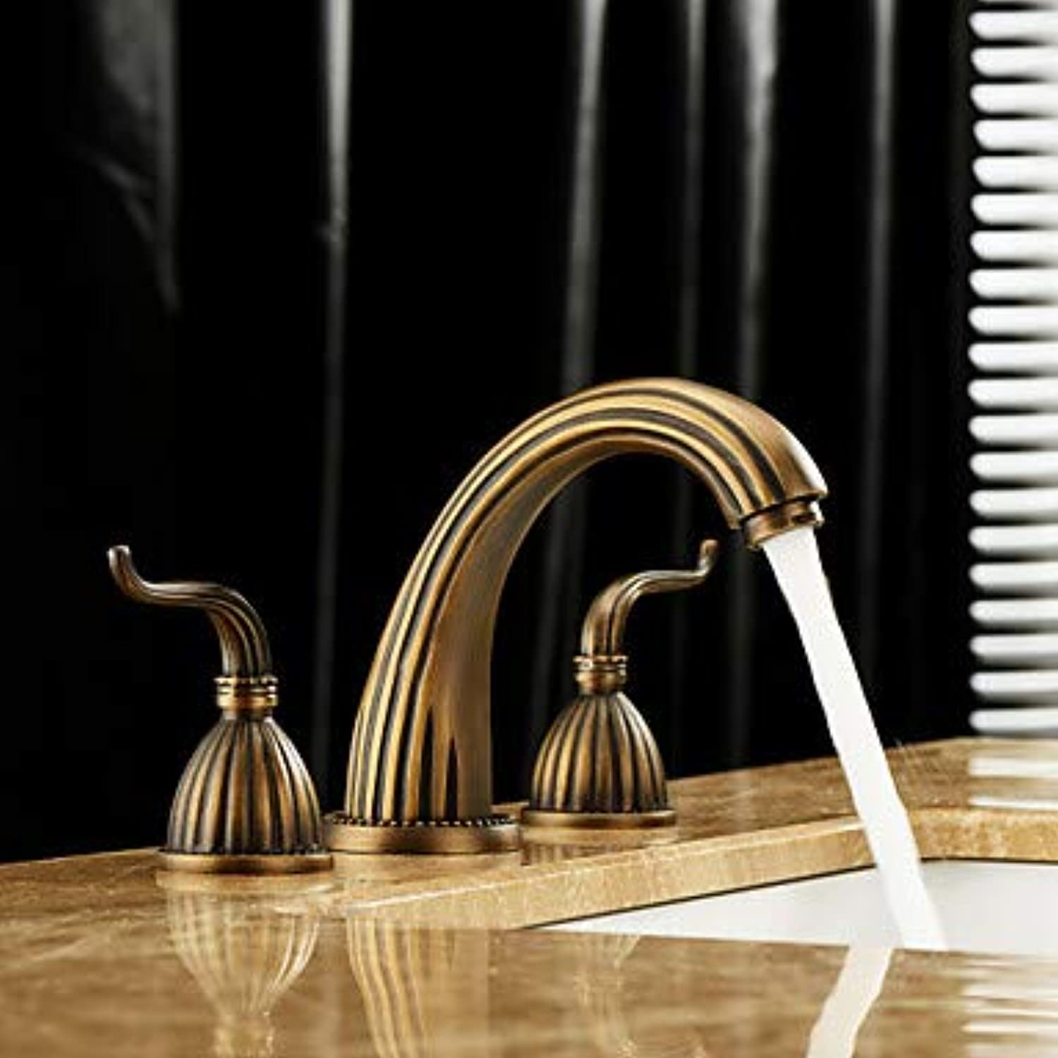 Mangeoo Bathroom Sink Faucet - Widespread Antique Brass Widespread Three Holes Two Handles Three Holesbath Taps