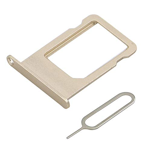 MMOBIEL SIM Karte Schlitten Tray Slot kompatibel mit iPhone 5S / SE 4.0 inch (Gold) inkl. SIM Pin
