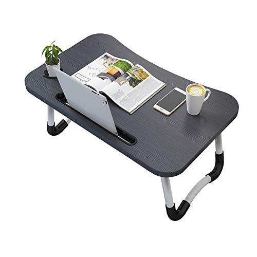 Vasen Mesa Cama Mesa para Cama Plegable Bandeja Cama para Mesa Ordenador Portátil Bandeja Desayuno 60 x 40 cm (Negro con Ranura para Taza)