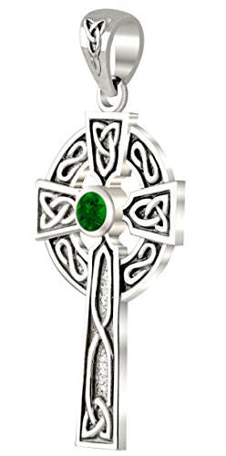 US Jewels 14k White Gold Chatham Synthetic Emerald Irish Celtic Cross Pendant