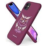 ORNARTO kompatibel mit iPhone 11 Silikon Hülle, Hülle Ultra Dünne Flüssig Silikon Handyhülle Schutz für iPhone 11 (2019) 6,1 Zoll -Eule/Pflaume