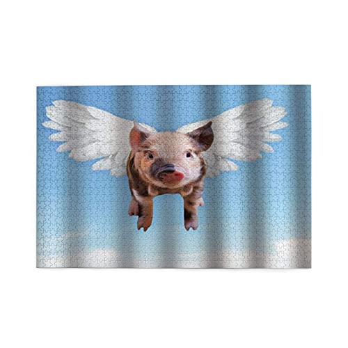 GEHIYPA Jigsaw Puzzles 1000 Pieces,Art Printing Pink Flying Pig Baby With Wings In Blue Sky Funny,Family Large Puzzle Game Artwork and Great Gifts for Adults Teens Kids