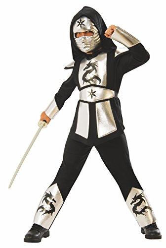 Rubies - Disfraz ninja dragon silver para niño, L 8-10 años (Rubies 641142-L) , color/modelo surtido