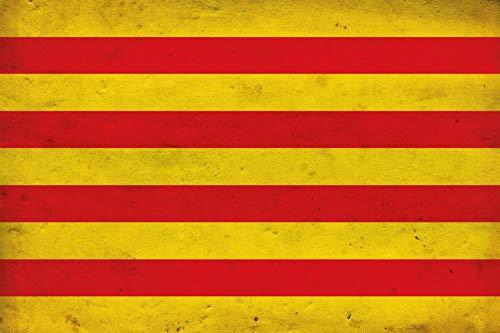 FS Calatan Flag Catalan vlag landenvlag metalen bord bordje gewelfd Metal Sign 20 x 30 cm