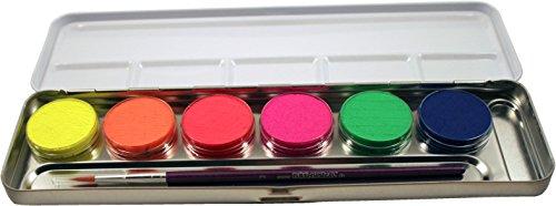 Eulenspiegel Schminkpalette aus Metall, 1 Pinsel und 6 Neon Farben