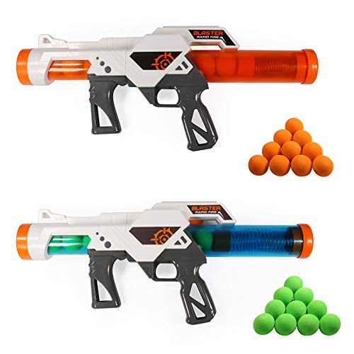 Exercise N Play 2 PCS Power Gun Dual Battle Pack Foam Ball Air Powered Shooter Toy Guns for Kids Role Playing with Their Family Members or Partners