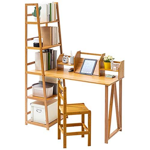 QHGao Home Bureau En Boekenplank, Multi-Functie Houten Laptop Bureau Office Werkstation Schrijven Bureau, Compacte Werkbank, Verbreed Desktop, Grote Capaciteit Multi-Layer Opslag Set