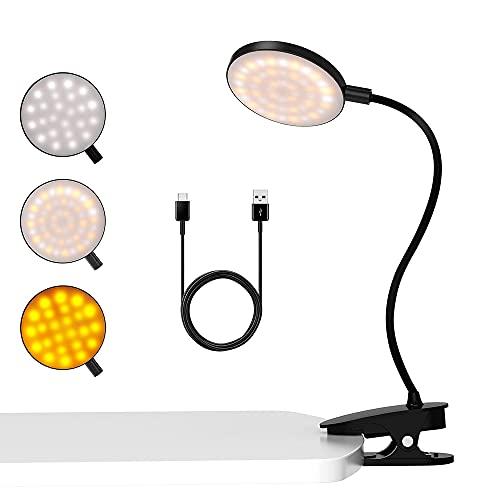 leselampe buch klemme,48 LED leselampe bett 360°Schwanenhals Klemmlampe 3 Farben und Stufenloses Dimmen mit Touch-Steuerung Klemmleuchte Augenschutz Leselampe Kinder