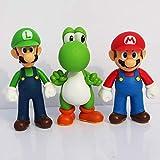 3 Pcs Super Mario Bros Action Figures Toys 5'' Mario Toys Set Mario Luigi Yoshi Cake Topper Decorations