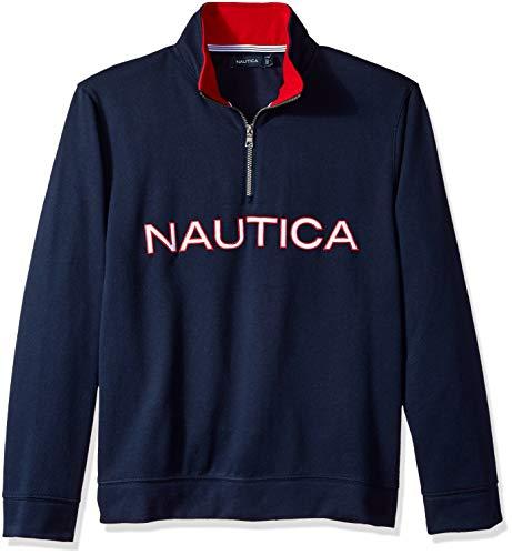 Nautica Men's Chest Logo 1/4 Zip Fleece Sweatshirt, Navy, Small