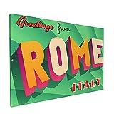 Impresiones de arte de pared,Roma turística vintage, Italia, Pintura moderna enmarcada óleo sobre lienzo para sala de estar dormitorio principal Decoración 18x12 pulgadas