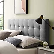 Modway Emily Tufted Button Linen Fabric Upholstered King Headboard in Gray