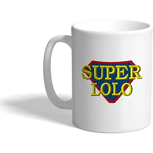 Keramische lustige Kaffeetasse Kaffeetasse Super Lolo Philippinen Weiße Teetasse 330 ml