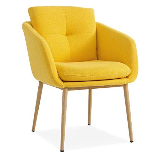ZL Mid Century Modern Velvet Dining Chairs Mit Rücken- Und Sitzkissen, Accent Leisure Chairs Gepolsterte Beistellstühle Mit Metallbeinen, Leinenstoff (Color : Yellow)