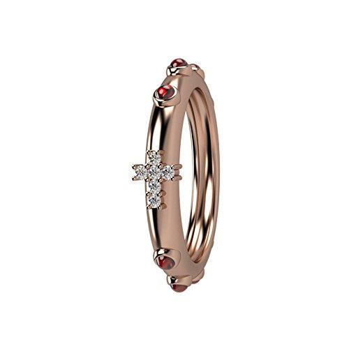 Anello rosario Nardelli Gioielli, Fashion e Spiritual, oro rosso 18kt, rubini naturali e diamani bianchi per 0,53KT totali