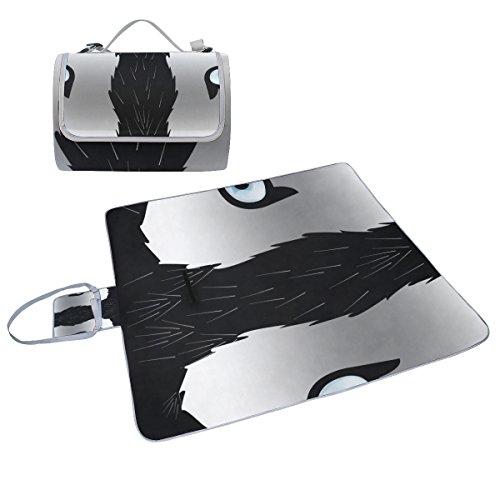 COOSUN Husky Hund mit Picknick-Decke Tasche Handy Mat Schimmel resistent und wasserdicht Camping-Matte für rving, Picknickdecke, Strand, Wandern, Reisen und Ausflüge