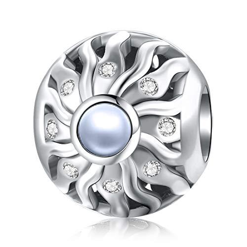 Jiayiqi - Ciondolo a forma di sole, in argento Sterling 925, adatto per braccialetti Pandora, gioielli da donna, regalo di Natale