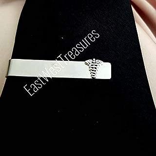 Medical caduceus tie clip ba-MD doctor medical student suit tie necktie accessory for men