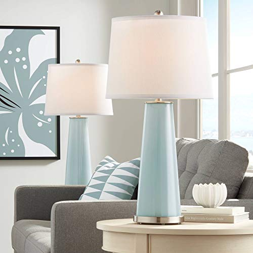 Leo Modern Contemporary Table Lamps Set of 2 Aqua Sphere Blue Glass Tapered Column Plain White Drum Shade for Living Room Bedroom House Bedside Nightstand Home Office Family - Color + Plus