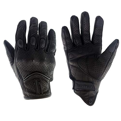 Harssidanzar Mens Full Finger Goatskin Leather Touchscreen Motorcycle Gloves Perforated GM028,Black,Size M