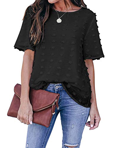 Blooming Jelly Womens Chiffon Blouse Summer Casual Round Neck Short Sleeve Pom Pom Shirts Tops (Large, Black)