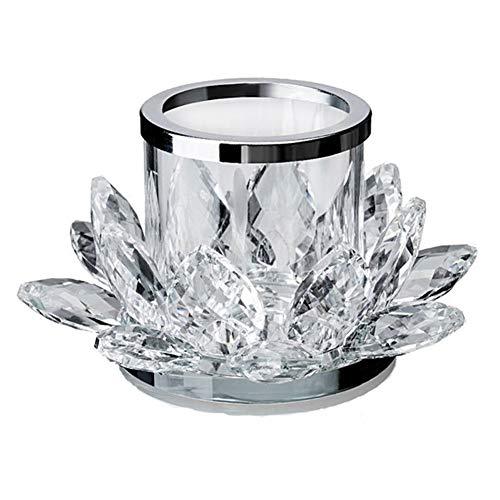 Crystal Clear Lotus Tealight Klassieke Kaarsenhouder Votive Kaarsenhouders voor open haard salontafel Mantle Decor Kaarsenhouders met ronde basis en bloemenontwerp