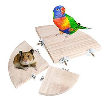 Logres Plateforme en bois pour perroquet 17 cm