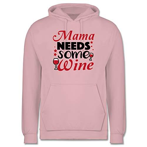 Shirtracer Statement - Mama Needs Some Wine Rotwein - M - Hellrosa - Mama - JH001 - Herren Hoodie und Kapuzenpullover für Männer
