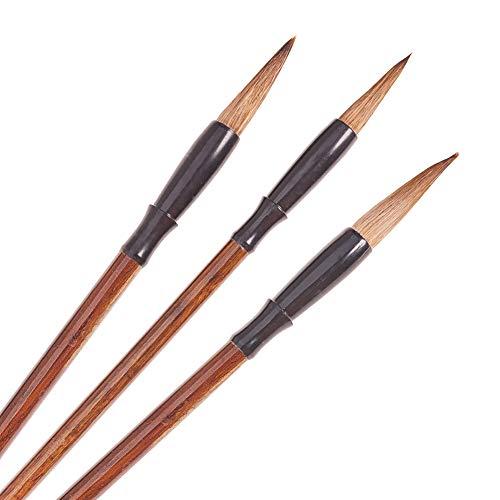 PandaHall 3 stücke Sienna Chinesische Traditionelle Kalligraphie Pinsel Stift Kanji Pinsel Set Sumi Malerei Zeichnung Pinsel für Schreiben üben