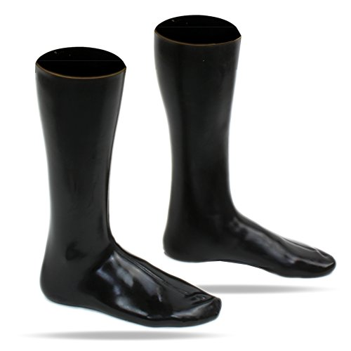 100% Latex rubber Socken Wadenhoch 0,4mm schwarz getaucht (FM) (l)