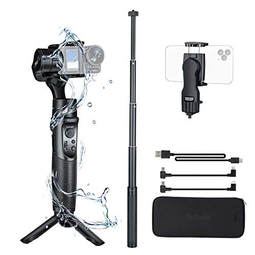 Hohem Action Camera Gimbal Stabilizer iSteady Pro2 Kit with Phone Holder & Extension Rod 3 Axis IP64 Splash-Proof Gimbal, for GoPro Hero 7/6/5/4/3, for DJI Osmo Action & Sports Cameras(Pro2 Kit)