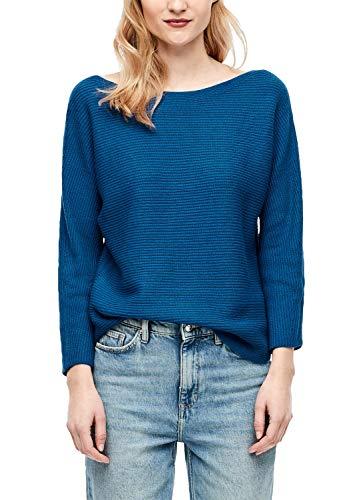 s.Oliver Damen Fledermaus-Pullover aus Rippstrick blau 42