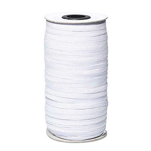 200 Yards Elastic String for DIY,1/8 Inch Elastic Bands for Sewing,Flat Elastic Cord for Crafts, Bedspread, Cuff-White