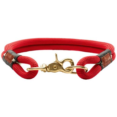 HUNTER Oss Halsung für Hunde, Tau, fellschonend, maritim, nautisch, 50 (M-L), rot