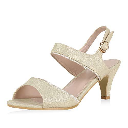 SCARPE VITA Damen Sandaletten Riemchensandaletten Metallich Party Schuhe Stiletto Absatzschuhe Elegante Glitzer Abendschuhe 180563 Gold Gold 40