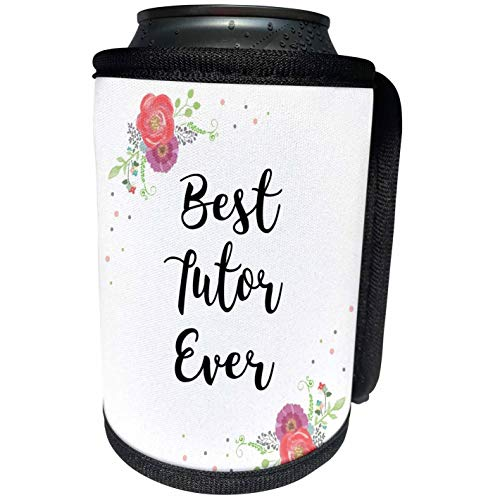 3dRose InspirationzStore - Love Series - Floral Best Tutor Ever pretty watercolor pink flowers - tutoring love - Can Cooler Bottle Wrap (cc_315690_1)