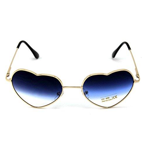 DDU(TM) 1 Stück Blau Damen Metall Sonnenbrillen Nettes Herz-Form-Design Objektiv Outdoor Brillen