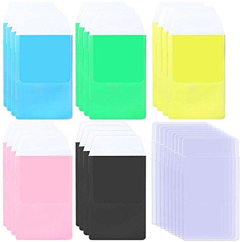 AFUNTA - 30 protectores de bolsillo para camisas, 6 colores surtidos de alta resistencia, para escuela, hospital, oficina, suministros para bolígrafos, fugas, transparente, negro, azul, rosa