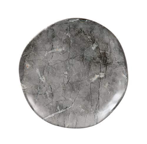 H&H - Juego de 12 platos planos - Línea Carrara - Material: cerámica gres - Diseño efecto mármol