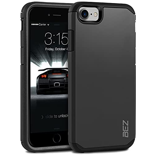 BEZ Cover iPhone SE 2020, Cover iPhone 7, Cover iPhone 8, Custodia per iPhone SE 2020 Rigida Protettiva con Impact [Antiurto, Assorbimento-Urto] Bumper Protezione da Cadute e Urti Posteriore, Nero