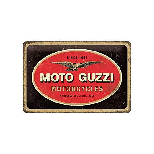 Nostalgic-Art Retro Blechschild, Moto Guzzi – Logo Motorcycles – Geschenk-Idee für Motorrad-Fans, aus Metall, Vintage-Dekoration, 20 x 30 cm
